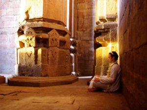 Meditating in Indian Temple