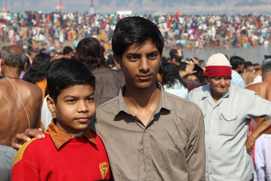 Two Indian Boys at the 2013 Kumbh Mela