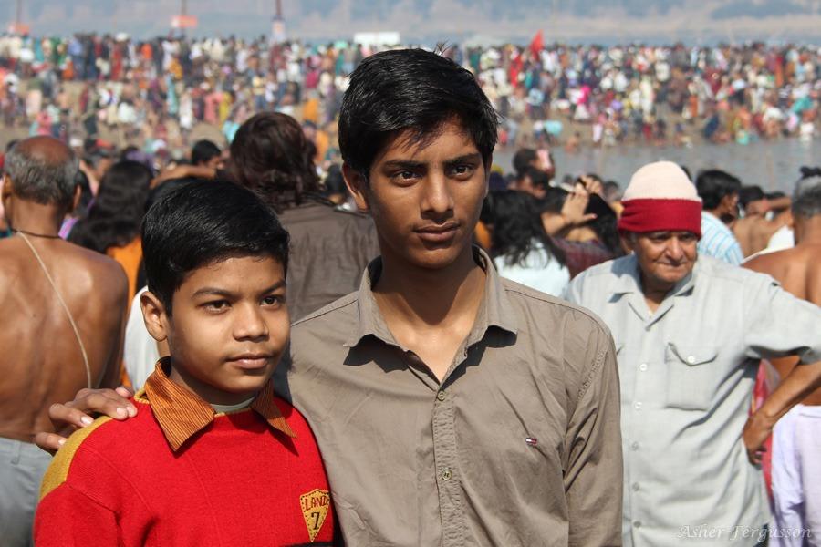Two Indian Boys at the 2013 Kumbh Mela