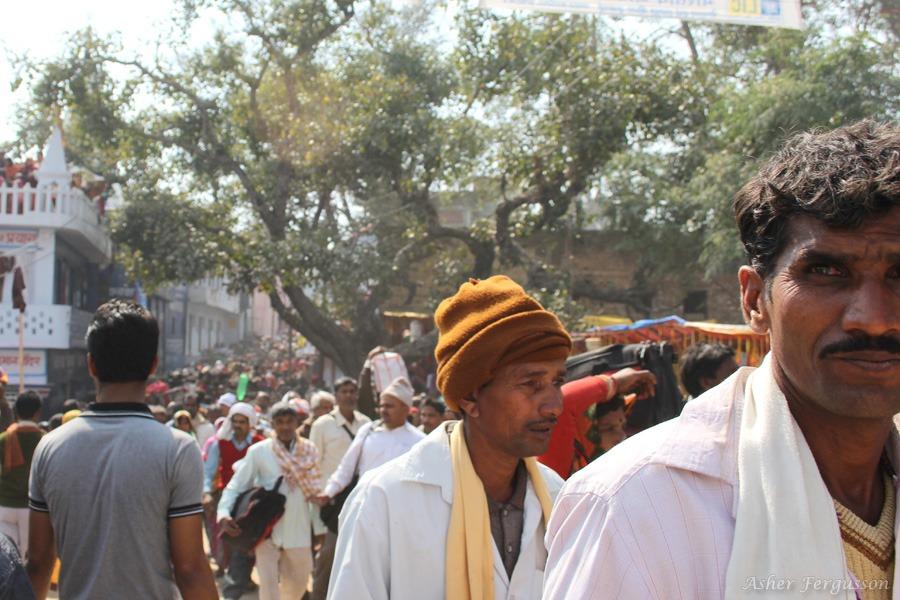 Crowds of people at the Maha Kumbh Mela