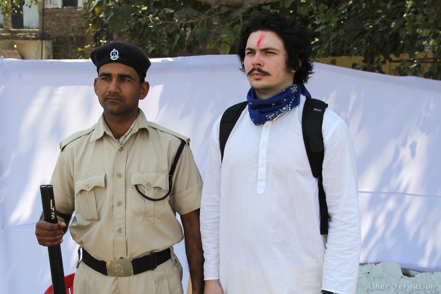 Nathaniel Alexander with Indian security guard