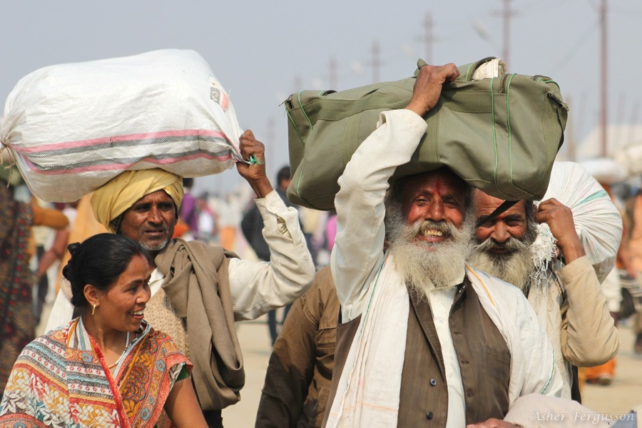 Happy Indians at the Kumbha Mela