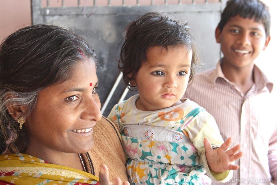 indian lady and baby amazing eyes