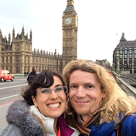 Lyric and Asher in London in front of Big Ben