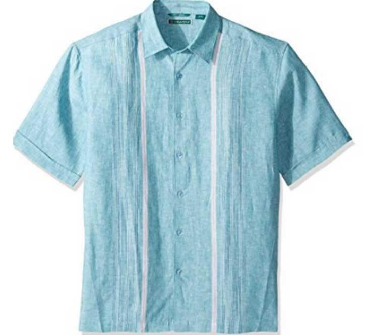 Cubavera-Short-Sleeve-Linen-Engineered-Turquoise
