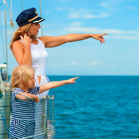 woman and child on cruise