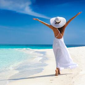 woman on beach in caribbean