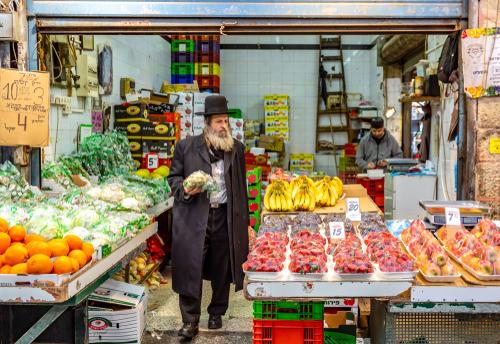 orthodox Jewish man in a market