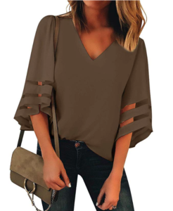 Woman wearing brown blouse