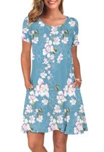 Women in blue summer dress