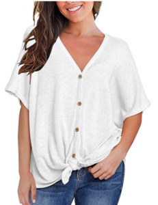 Woman wearing white button up short-sleeve shirt