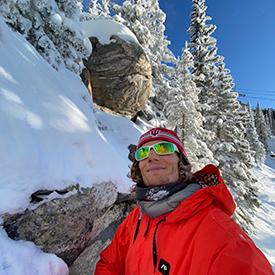 Asher Fergusson snowboarding in Santa Fe, New Mexico