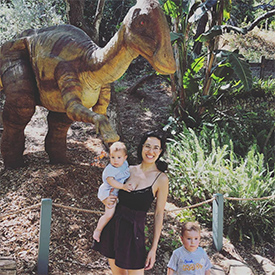Kingsley and Aurora with dinosaurs