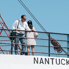 Couple on boat in Nantucket
