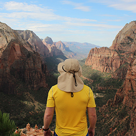 Guy looking at view in Zion