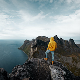 Guy on mountain in Norway