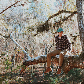 Guy sitting on a branch