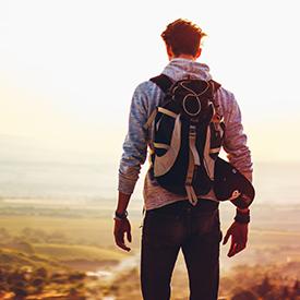 Man looking at view