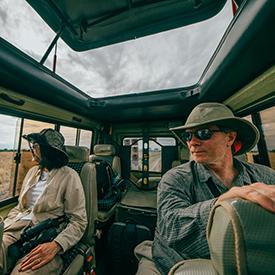 Two people on-a safari