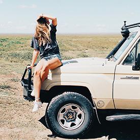 Woman on a Safari Jeep