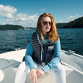 Woman on boat in Norway