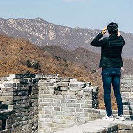Woman on castle wall