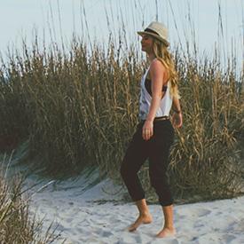 Woman walking on Myrtle Beach