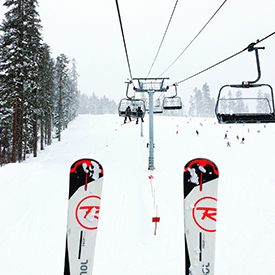 on a ski lift