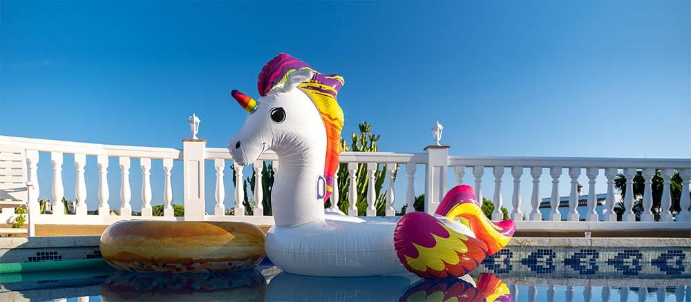 unicorn in swimming pool