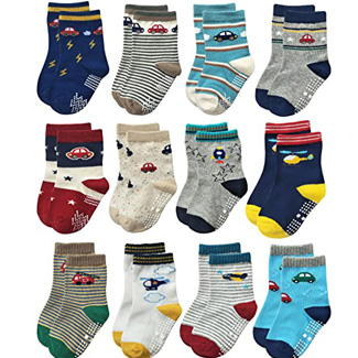 Rative Non-skid Anti-slip Crew Socks with grips for Baby Toddler Boys