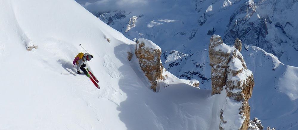 skiing the italian alps
