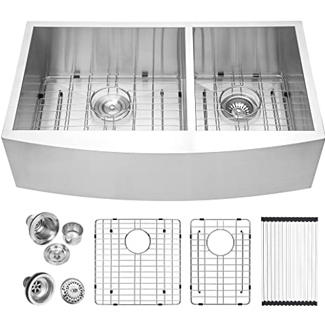 Logemy 18-gauge Stainless Steel Double Apron Front Farmhouse Sink