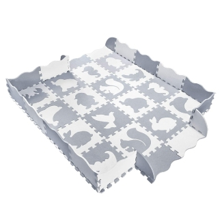 Baby Play Mat with Fence, Animals, and Foam Tiles by Wonder Bebe