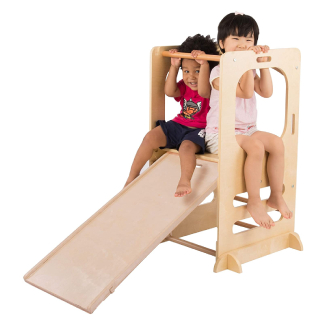 Climbing Play Tower - Slide and Chalkboard