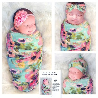 Cambria Baby Swaddle and Headband Set