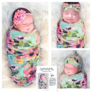 Cambria Baby Swaddle and Headband Set