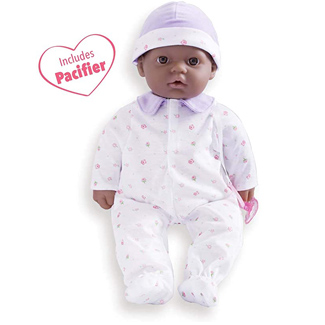 JC Toys African American 16-inch Medium Soft Body Baby Doll La Baby   Washable  Removable Purple Outfit w/ Hat and Pacifier   for Children 12 Months +