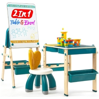2 in 1 Kids Table & Easel with Blocks Set