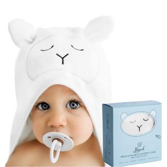 Lilyseed Premium Organic Bamboo Baby Hooded Towel and Washcloth Set