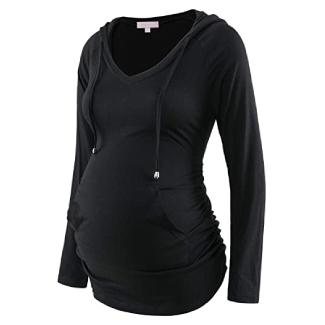 Maternity V-Neck Long Sleeve Hoodie