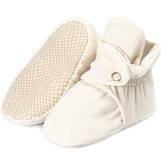 Ella Bonna Organic Cotton Baby Booties, Non Skid, Soft Sole, Stay On Baby Shoes