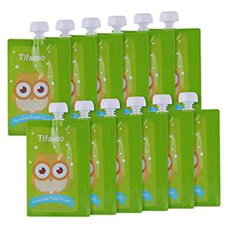 Kirecoo Owl Reusable Baby Food Squeeze Storage Pouches