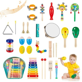 Obuby Kids Musical Instrument Set, 23-piece Wooden Percussion Instruments for Toddlers