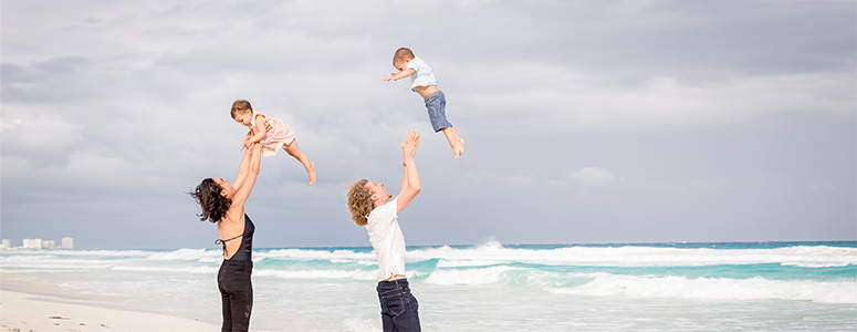 fergusson family at beach in cancun
