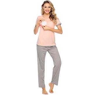 Aibrou Cotton Maternity Nursing Pajama Set
