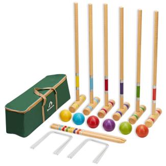 ApudArmis Six Player Croquet Set with Premium Pine Wooden Mallets