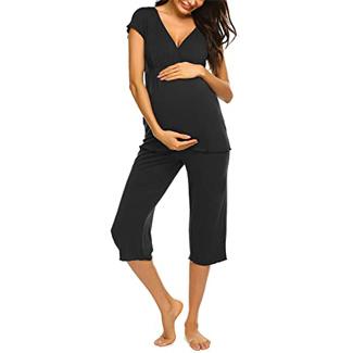 Ekouaer Women Layered Maternity & Nursing Pajama Capri Set