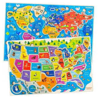 Wooden World Map Puzzles