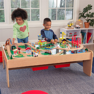 KidKraft Waterfall Mountain Train Set and Table (120 Pieces)