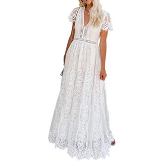 BDCOCO Floral Lace Maxi Dress